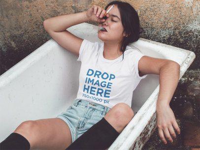 T-Shirt Mockup of a Girl Smoking in a Bathtub a11670