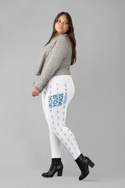 Plus Size Side Leggings Mockup of a Woman Posing at a Studio 30973
