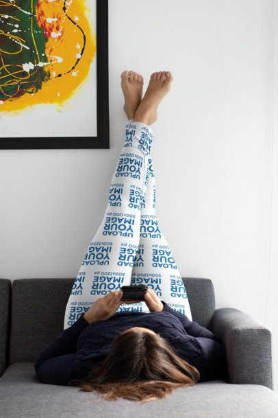 Plus Size Mockup Featuring a Woman Wearing Sublimated Leggings in Her Bedroom 31029