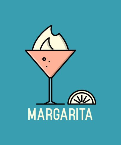 Bar-Themed T-Shirt Maker with a Margarita Icon 596c-el1