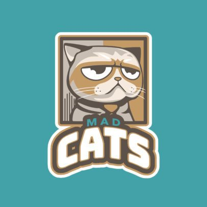 Gaming Logo Generator Featuring a Mad Cat Illustration 523o-2880