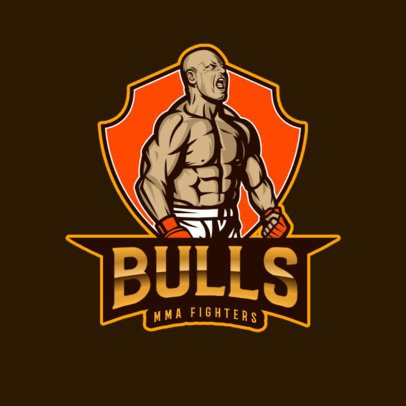 Sports Logo Generator Featuring an MMA Fighter Illustration 2852k