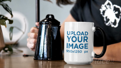 15 oz Magic Mug Video Featuring a Young Man Pouring Coffee 31577