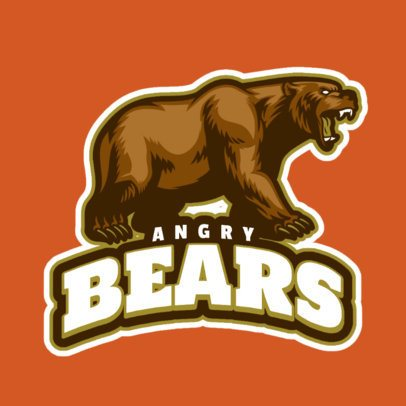 Logo Template for a Sports Team with an Angry Bear Graphic 21ff-2882