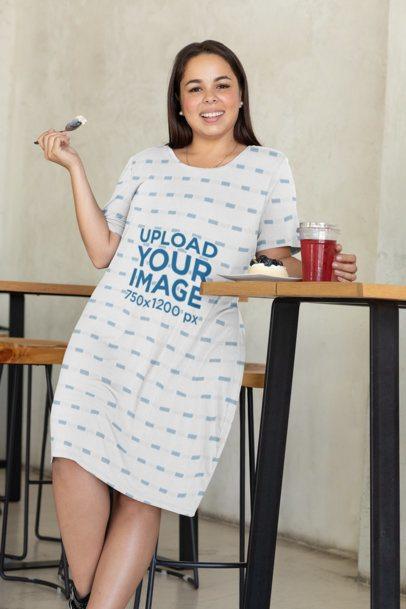 Plus Size Dress Mockup of a Happy Woman Tasting a Dessert 31070
