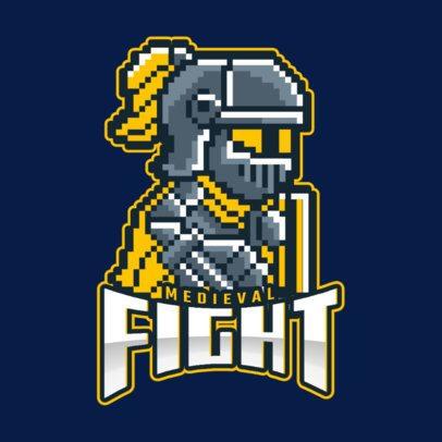 Logo Maker for a Gaming Team Featuring an 8-bit Warrior Cartoon 1741g-2892