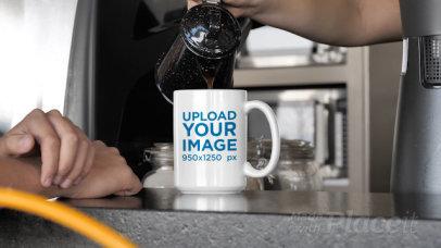 15 oz Coffee Mug Video of a Man Waiting for a Coffee 31589