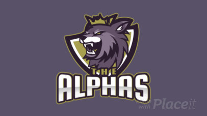 Animated Sports Logo Maker Featuring an Aggressive Wolf with a Crown 2680p-2880