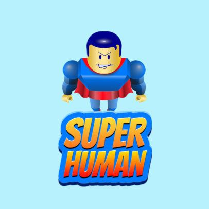 Roblox-Inspired Gaming Logo Maker Featuring a Block-Style Superhero 2878e