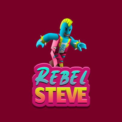 Gaming Logo Generator with a Roblox-Inspired Rebel Character 2878h