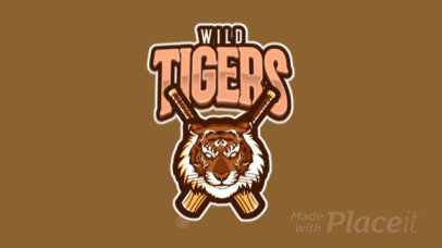 Cricket Team Logo Template Featuring an Animated Aggressive Tiger's Face 1650f-2892