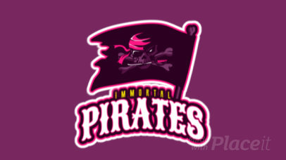 Animated Gaming Logo Template with an Illustrated Pirate Flag 2620n-2888