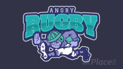 Animated Sports Logo Generator Featuring an Angry Rugby Player 1619i-2883
