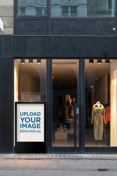 Mockup of a MUPI Placed on an Elegant Boutique Window 2487-el1