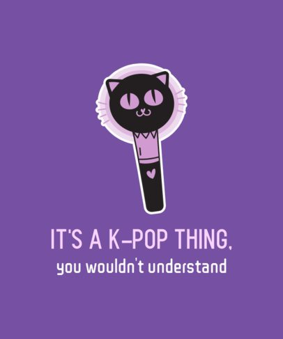K-Pop T-Shirt Design Template Featuring a Kitten-Shaped Light Stick 2199c
