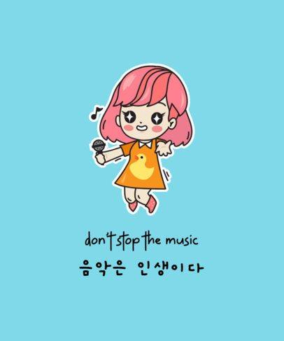 T-Shirt Design Maker with a Female K-Pop Singer Illustration 2199e