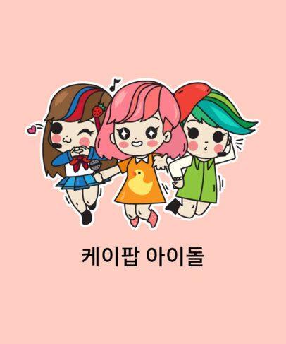 T-Shirt Design Generator with a K-Pop Girl Group Cartoon 2199h