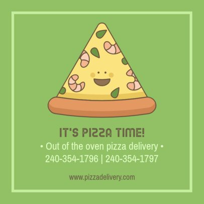 Facebook Post Template Featuring a Happy Pizza Slice Character 2209b