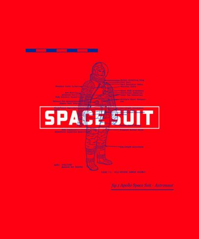 T-Shirt Design Template Featuring an Astronaut Suit Graphic 246a-el1