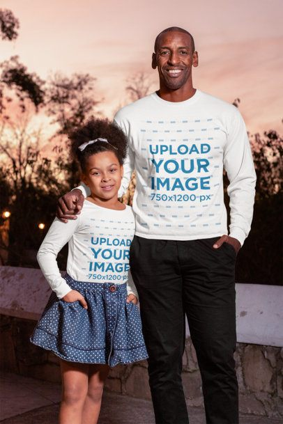 Mockup of a Girl and Her Dad Wearing Long Sleeve Tees 31400