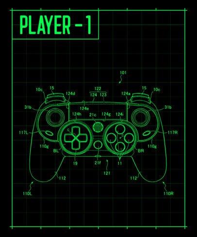 Retro Gaming T-Shirt Design Creator Featuring a Diagram of a Console 244b-el1