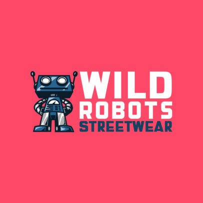 Logo Generator for an Urban Clothing Brand with a Robot Graphic 697b-el1