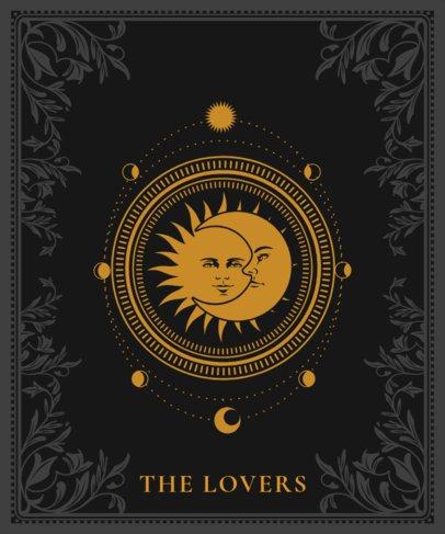 Tarot T-Shirt Design Template Featuring a Sun and Moon Illustration 2196a