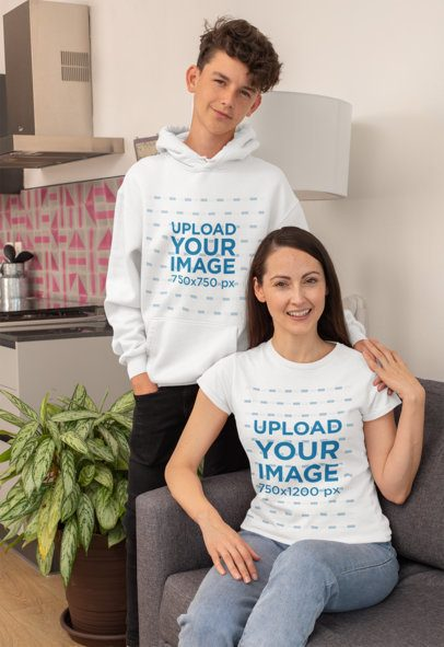 T-Shirt Mockup of a Single Mom with His Teenager Son in a Hoodie 31440