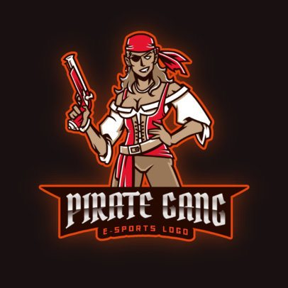 Gaming Team Logo Creator Featuring a Fierce Female Buccaneer 2811bb-2927