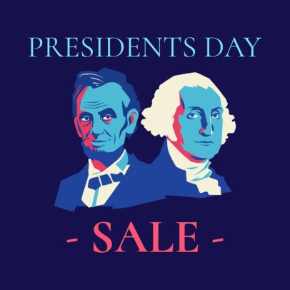 Instagram Post Template for President's Day Featuring Lincoln and Washington 2200a