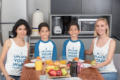 Tank Top Mockup of a Two-Mom Family with Twins Wearing Long-Sleeve Tees 31412