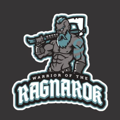 Gaming Logo Maker with an Epic Nordic Warrior Illustration 2619y-2934