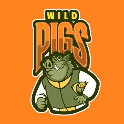 Mascot Logo Template Featuring a Wild Pig 120gg-2935