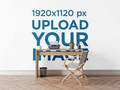 Art Print Wall Mockup Featuring a Rustic-Style Desk and Chair 2709-el1