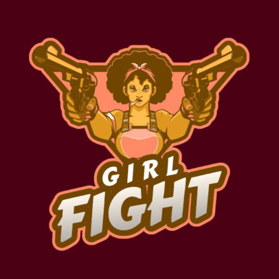 Gaming Logo Maker with a Female Fighter Holding Guns 2637w-2926