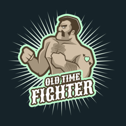 Fighting Game Logo Maker Featuring a Muscled Wrestler Character 1872h-2936