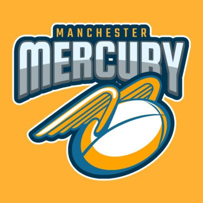 Rugby Logo Maker Featuring a Speeding Winged Ball 1619j-2930