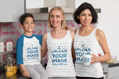 Raglan Tee Mockup of a Kid with His Two Moms Wearing Tank Tops While Holding a Coffee Mug 31413