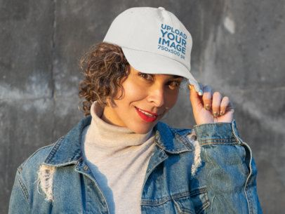 Mockup of a Woman Wearing a Dad Hat with a Political Symbol 31902