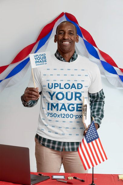 T-Shirt Mockup of a Man Holding a Political Flag 31937