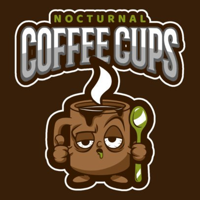 Mascot Logo Maker Featuring a Sleepy Coffee Cup Cartoon 484n-2928