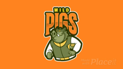 Animated Mascot Logo Template Featuring a Wild Pig 120gg-2935