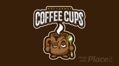 Animated Mascot Logo Maker Featuring a Sleepy Coffee Cup Cartoon 484n-2928
