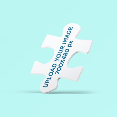 Mockup of a Puzzle Piece with a Customizable Background 2694-el1