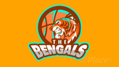 Animated Sports Logo Generator for Basketball Teams With an Angry Tiger Graphic 336u-2932