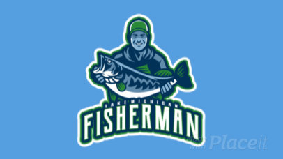 Animated Logo Maker for a Fishing Team Featuring a Happy Fisherman 29aa-2932