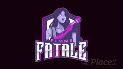 Animated Logo Generator for Gamers Featuring a Female Shooter Illustration 1744h-2927
