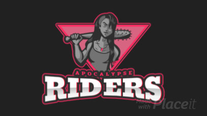 Animated Gaming Logo Maker Featuring a Female Apocalypse Warrior 1749t-2934