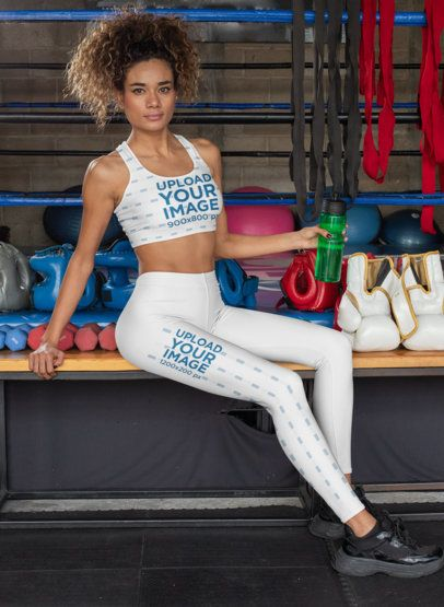 Sports Bra Mockup of a Woman Wearing Leggings at the Gym 31360