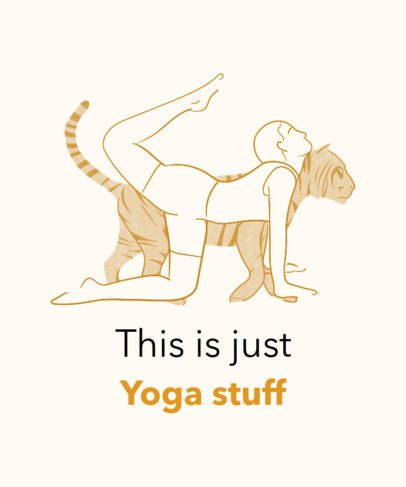T-Shirt Design Template Featuring a Woman Doing Yoga by a Tiger Graphic 2228e